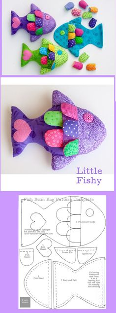 fish soft doll stuffed toy pattern template idea craft