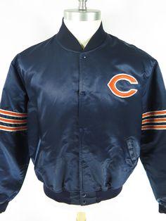 Vtg 80s Starter Chicago Bears Jacket XL NFL Football Patch Logo Nylon Satin