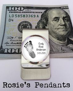 Baby Footprint Money Clip - Personalized Custom - Gift for Dad - Military Dad - Baby Footprint Money Clip Custom Money Clips, Unique Gifts For Dad, Customized Gifts, Personalized Items, Dad Baby, Baby Footprints, Vintage Typewriters, My Etsy Shop, Pure Products
