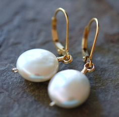 Earrings Coin Pearls Leverback 14K Gold Fill
