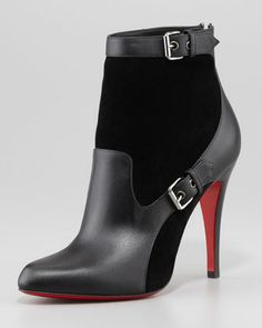 Canassone Buckled Suede-Leather Bootie by Christian Louboutin at Neiman Marcus.