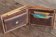 Mens Distressed Leather Wallet with Coin Pocket By JooJoobs Interior View Filled Handmade Leather Wallet, Leather Gifts, Leather Keychain, Leather Craft, Leather Men, Brown Leather, Wallet With Coin Pocket, Coin Wallet, Leather Projects