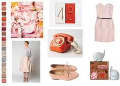 cheery shades of pinks, purples, peaches and creams to warm up your march morning…    chip chart from sydney studio, painting by todd hunter, skirt and sweater by rachael roy spring 2011, vintage rotary phone from anthropologie, dieppa restrepo oxfords, pale pink dress by Olivia Rubin neutra house letters by heath ceramics , elephant salt and pepper shakers by jonathan adler