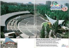 Fotos del Teatro Auditorio desde la Noria, extraido de un folleto de los años 80 del Parque de Atracciones de Madrid