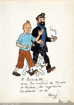 """""""A Bernadette, avec les amitiés de Tintin et Milou, du capitaine Haddock et de…"""