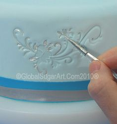 used a stamp to make the impression on fondant, then… Fondant Tips, Fondant Tutorial, Fondant Cakes, Cupcake Cakes, Royal Icing Cakes, Fondant Bow, Car Cakes, Fondant Flowers, Fondant Figures