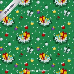 Free vector Green christmas pattern #33499