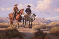 Artist: Tom Browning - Title: Searching for Strays - Full-Size Image Horse Sketch, Cowboy Horse, Browning, Western Art, Art Sketches, Cowboys, Westerns, Camel, Native American