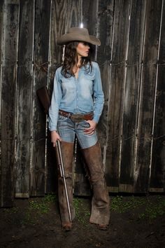 """The """"Cash"""" in Pecan...  Another classic denim on denim.  We let the cowboy hat speak for itself."""