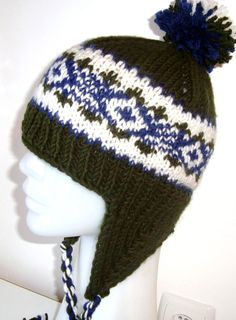 Hand Knitted Wooly Ear Flap Hat for Boys & Girls by earflaphats, $35.00