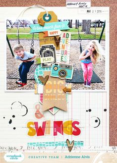 #papercraft #scrapbook #layout Big Smiles & Swings by adriennealvis at @Studio_Calico