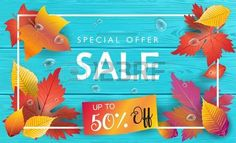 Autumn Sales Sale discount wallpaper fall poster with Autumn maple leaves ribbon banner turquoise wo Stock Vector