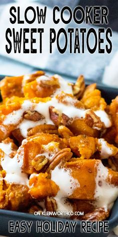 This classic holiday side dish recipe for Slow Cooker Sweet Potatoes is so incredibly simple to make. Free up your oven with this easy dish.