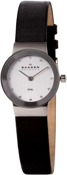 Skagen Watch, Women's Black Leather Strap 358XSSLBC