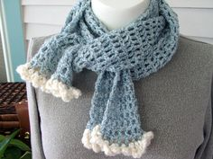 Sky Blue with Clouds crocheted openwork scarf by knitandcurl, $32.00