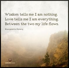 Wisdom tells me I am nothing.  Love tells me I am everything.  And between the two my life flows.   - Nisargadatta Maharaj  #quote #quotes #cite #citation #citations #wisequotes #word #words #wisewords #saying