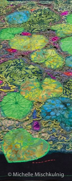A summer project. Table Topper - Michelle Mischkulnig Source by aajjduncan Textile Fiber Art, Textile Artists, Fiber Art Quilts, Street Art, Creative Textiles, Thread Painting, Landscape Quilts, Contemporary Quilts, Sewing Art
