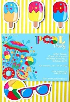 Pool birthday party ideas with DIY decorations, party printables, food and fun! Party Printables, Printable Invitations, Invitation Ideas, Party Icon, Party Kit, Party Ideas, Pool Party Invitations, Birthday Invitations