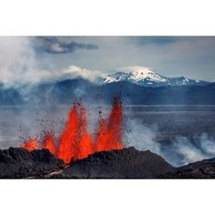 Volcano eruption at the Holuhraun Fissure near Bardarbunga Volcano Iceland Canvas Art - Panoramic Images (36 x 12)