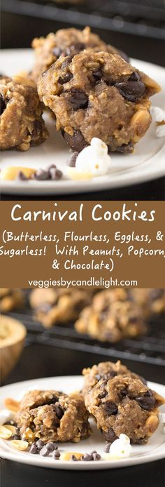 Carnival Cookies - A butterless, flourless, eggless, and potentially sugarless cookie that incorporates peanuts, popcorn, & chocolate
