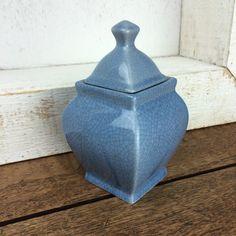 Small blue crazed raku glazed vintage pot with by GilbertandCrick