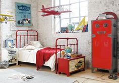 LOVE this gorgeous boy's room with slight industrial & vintage elements. The striking red and yellow colour combo is a cool change from the ...