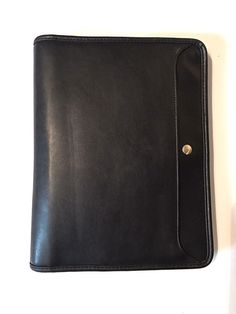 "Allant black zip portfolio organizer. Could also be used as a laptop bag because it has a compartment inside that would fit one. Has large open pocket on outside. Inside has laptop/books pocket, ID holder and 4 credit/business card slots. Right side has one very large pocket for papers, pencils etc. Excellent shape but has a couple very minor signs of wear (see pictures). Measurements: Outside closed: 10.5"" x 13.5"" Opened: 21.5"" x 13.5"" Outside pocket: 13.5""..."