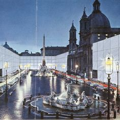 Superstudio Continuous monument. View of Piazza Navona, 1971