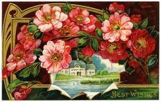 Old Design Shop ~ free digital image: a pretty vintage floral postcard