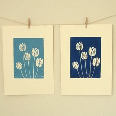 love indigo right now...and these two shades of blue with the tulips are perfect.
