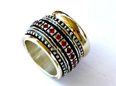Spinner Ring for woman. Garnets spinner ring silver gold 9ct MEDITATION RING #Bluenoemi #spinner