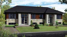 © Planimage - Ces deux maisons de plain-pied jumelées de style résolument urbain se distinguent par leur façade de pierres, de blocs de béton et de bois.