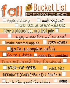 fall Bucket list... need this for every season!!