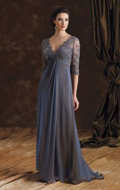 Sexy V Neck Grey Lace Long Mother Of The Bride Dresses, 2016 Half Sleeve A Line Chiffon Brides Mother Dresses, Plus Size Mother Of The Groom Dress, Formal Long Grey Mother Evening Prom Dresses, Elegant Grey Lace Mother Party Dress