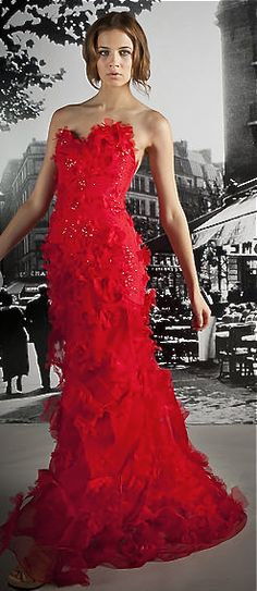 Reem Acra - red evening gown - 2012