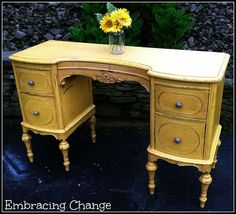 Use lively color to make a vintage furniture piece's detail really pop.
