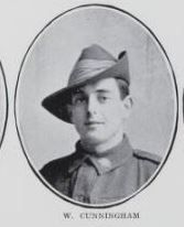 CUNNINGHAM, Wilfred. Corporal, No.  4393, 25th  Battalion. Born on the 16th December,   1894, at Tiaro. Private Cunningham   is   the   son of Stewart Crumby Cunningham   and   Mary Ellen Cunningham, of Queen Street,   Maryborough.  He enlisted with  his    brother Colin at  Maryborough  on  the   23rd  September,   1915.