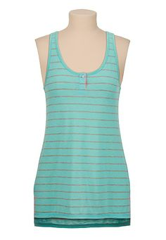 Teal High-low striped tank (original price, $18) available at #Maurices