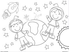 2 Coloring Pages. Boy and girl astronaut. Outer space.
