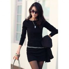 Lady Like Round Neck Rhinestone Embellished Solid Color Dress For WomenLong Sleeve Dresses | RoseGal.com