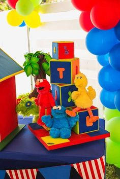 Sesame Street birthday party decorations! See more party ideas at CatchMyParty.com!