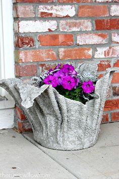 Make a unique garden planter from an old towel!