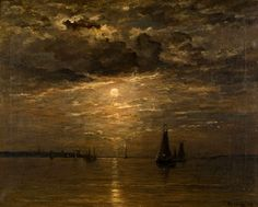 023 -February 23th 1831 -Mesdag, Hendrik Willem -Moonlight by evening -with at the background the silhouets of the church and lighthouse of Scheveningen (by the Northsea) the Netherlands/Holland