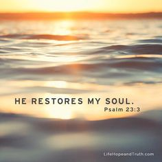 """He restore my soul"" psalm Bible verse # faith # God Bible Verses Quotes, Bible Scriptures, Faith Quotes, Biblical Quotes, Heart Quotes, Spiritual Quotes, Favorite Bible Verses, Gods Promises, Praise God"