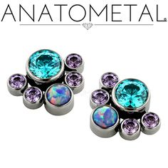 Threaded Gem Clusters in ASTM F-136 titanium with synthetic Amethyst, Mint Green CZ, and synthetic Opal #38 gems