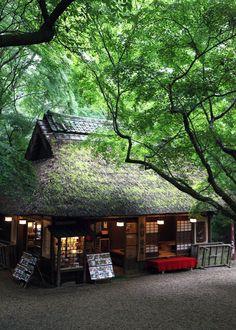 Japanese traditional Cafe. Nara park.平成22年6月撮影、奈良公園内にある水谷茶屋・・・秋の紅葉の時期によく 撮影する場所ですが、新緑も綺麗でした。  [予告] 明日は、「明日香 稲...