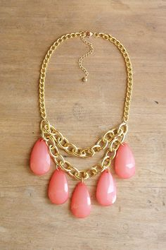 Coral Pink Teardrop Statement Necklace on Chunky Gold Chain by ShopNestled
