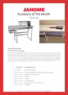 The janome universal table can fit many janome machines easily just janome universal sewing table accessory of the month october 2016 watchthetrailerfo