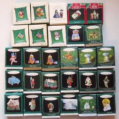 Hallmark Miniature Ornaments lot of 28 with boxes Pooh Tweety Snoopy