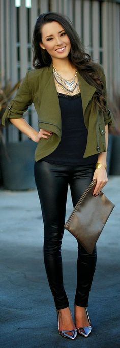 Causal Olive Jacket with Faux Leather Pant | Stree...